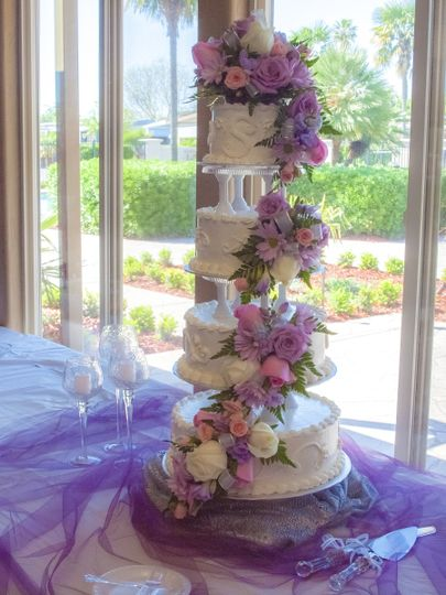 4-stack floral wedding cake