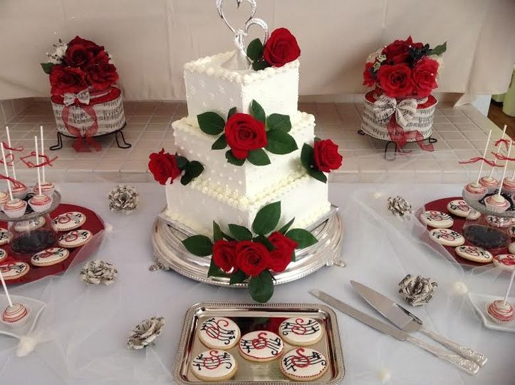 Rose themed wedding cake