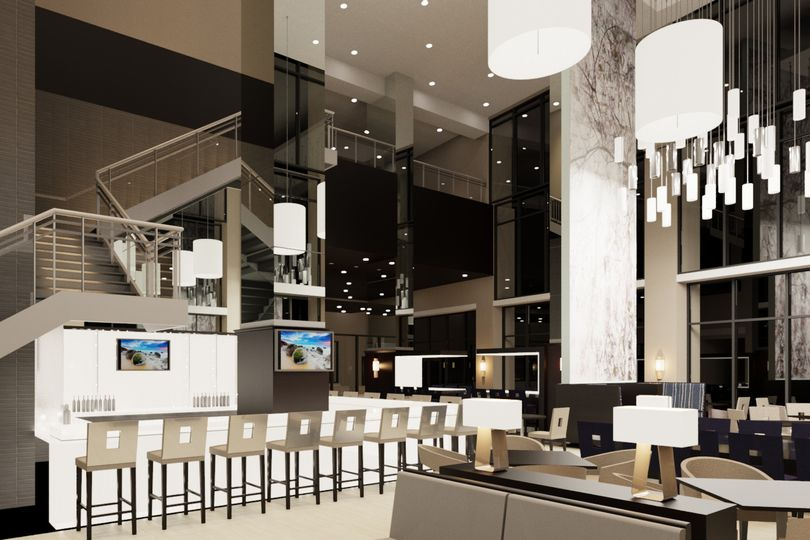 Bar and open lobby space