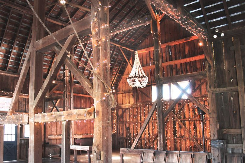 Barn loft with chandelier