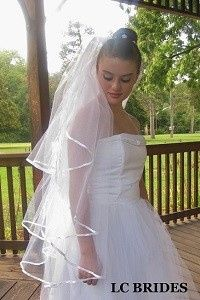 3 Tier Fingertip Satin Ribbon Edge Wedding Veil.