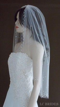 1 Tier Swarovski Crystal Wedding Veil - Custom Wedding Veils Available