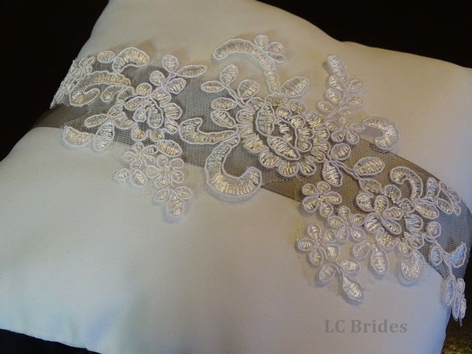 White and Silver Ring Bearer Pillow.