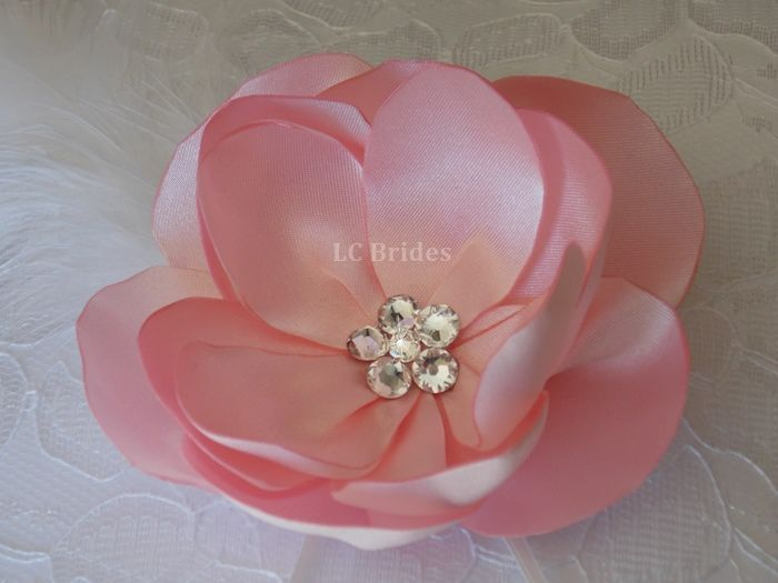 Timeless Ring Bearer Pillow with a Pink Satin Flower and Swarovski Crystals.