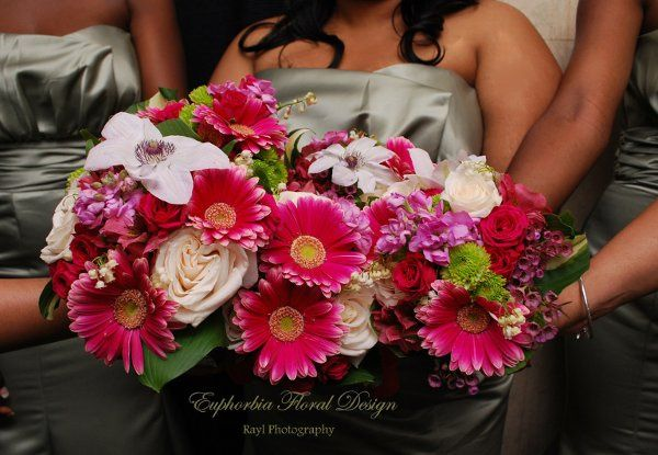 Three pink bouquets