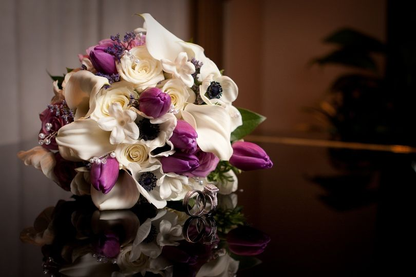 White and purple bouquets