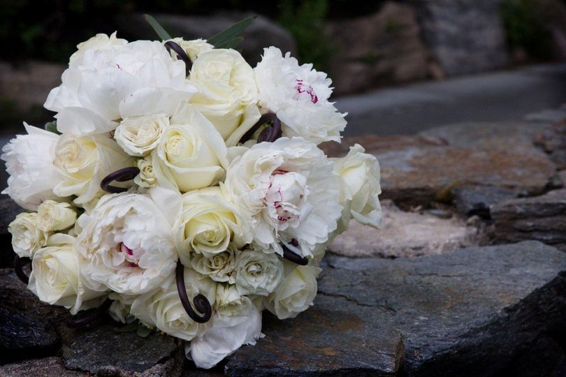 White peony, roses, fiddleheads