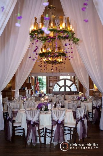 Bedford village inn with hanging floral chandeliers.