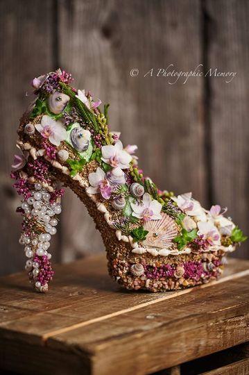 Sea shells shoes made by brad harrington at harrington flowers.