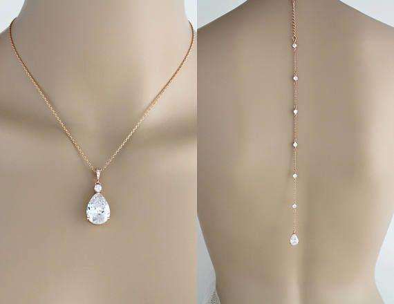 Dainty Rose gold Backdrop necklace