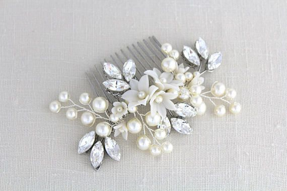 Pearl and crystal Bridal hair comb accessory