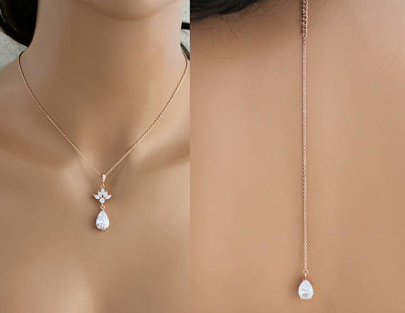Simple rose gold back necklace