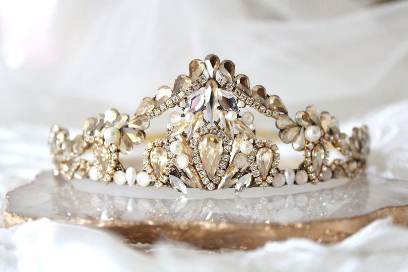 Antique gold wedding crown