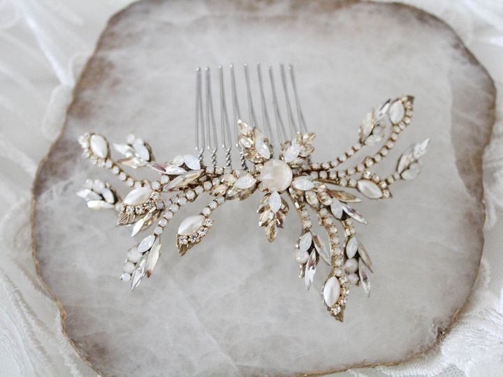 Tmx Antique Gold Swarovski Crystal Bridal Hair Comb 51 204409 157454953255214 Allentown, PA wedding jewelry