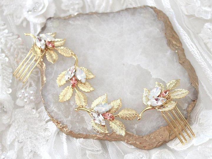 Tmx Gold Wedding Headpiece With Leaves And Swarovski Crystals 1286x857 51 204409 158446816622667 Allentown, PA wedding jewelry