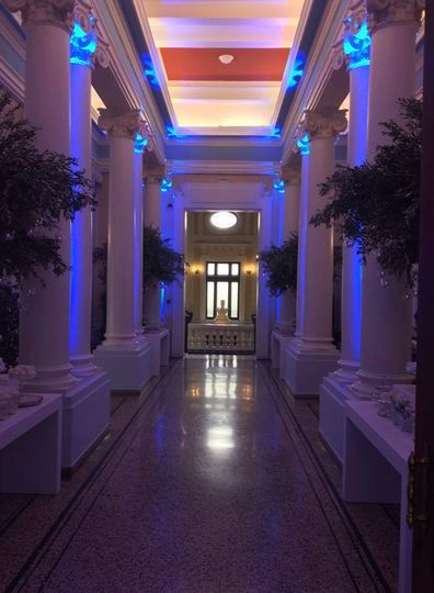 Blue hall lighting