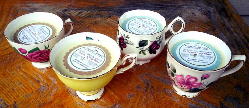 Family heirloom tea cups made into gorgeous soy candles for holiday gifts to family members.