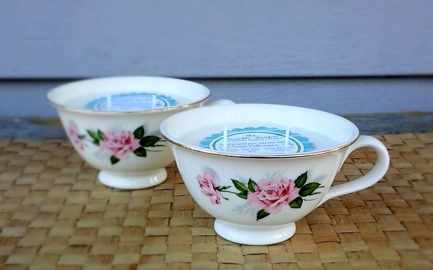 By far one of our more popular concepts: tea cup candles!