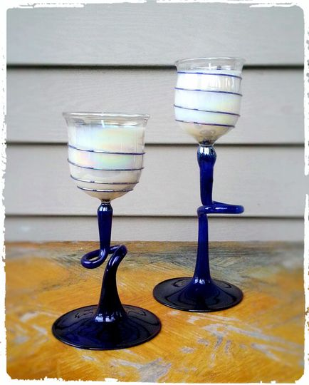 Beautiful salvaged one-of-a-kind stemware turned into hand-poured soy wax candles.