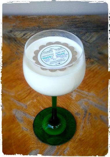 Another beautiful piece of stemware turned into an elegant soy wax candle.