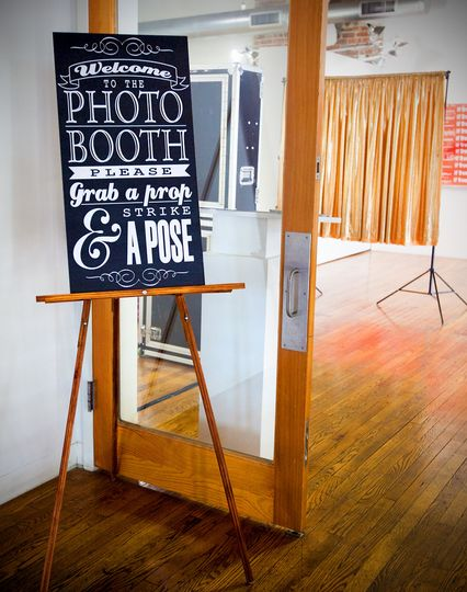 open air brownie box photo booth sign