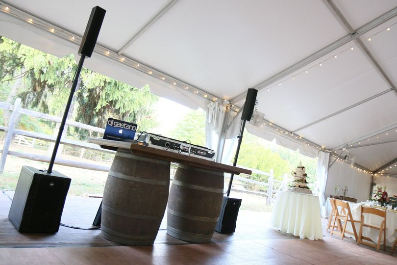Rustic package with wine barrel DJ table