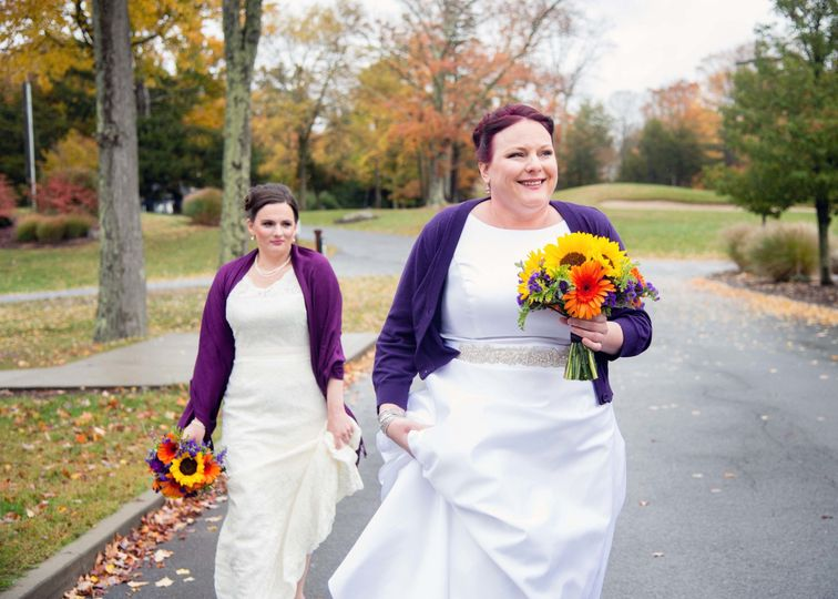 Brides from a fall wedding