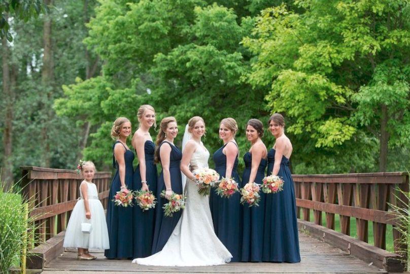 Bridal party on bridge