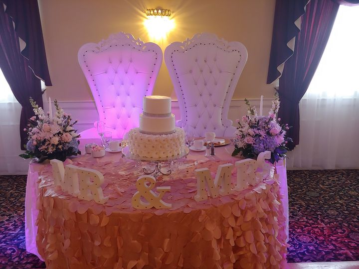 Sweetheart table with cake