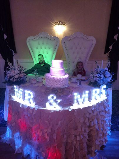 Lights at the sweetheart table