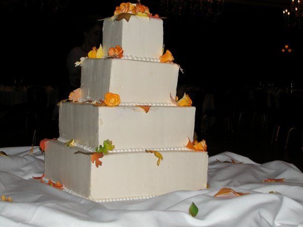 fall roses and leaves on off-white square tiers