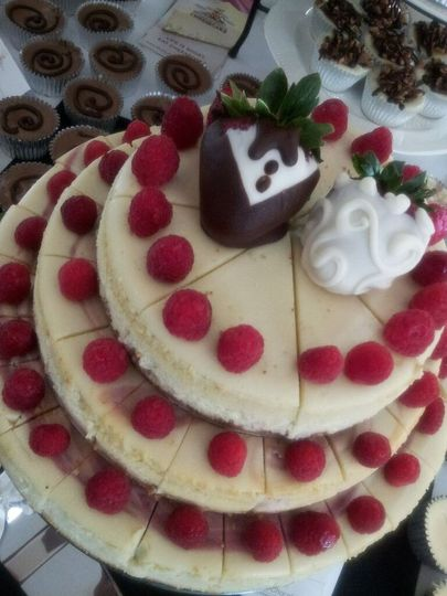 3 tier stacked cheesecake