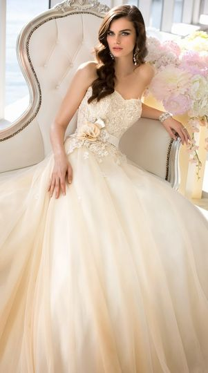 Ball gown with ombre colors