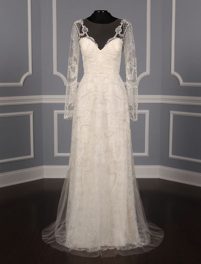 This Monique Lhuillier Karlotta wedding dress Platinum Collection is gorgeous! The gown has an...