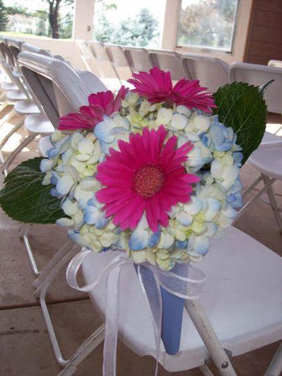 Aisle decor, blue Hydrangea with hot pink Gerbera Daisies