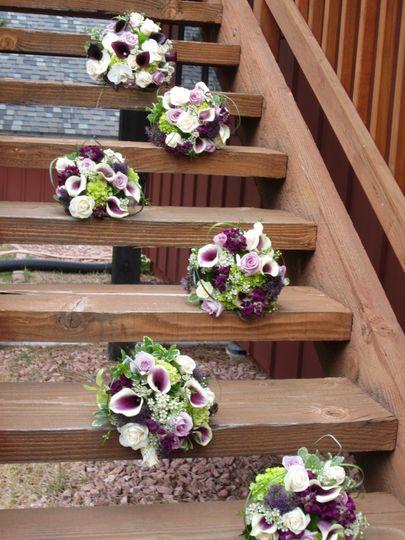 wilcox denning wedding bouquets on stairs
