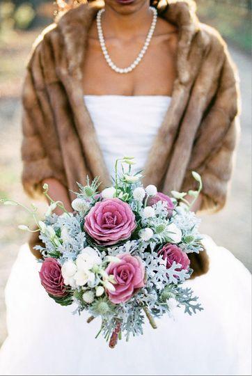 Bride in fur shawl