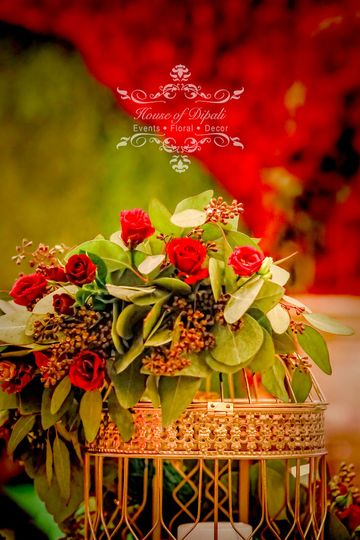 Decorated with wild red roses