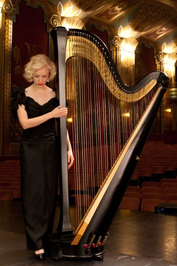Black and gold harp