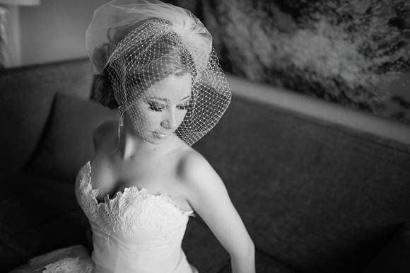Bride in her netted veil