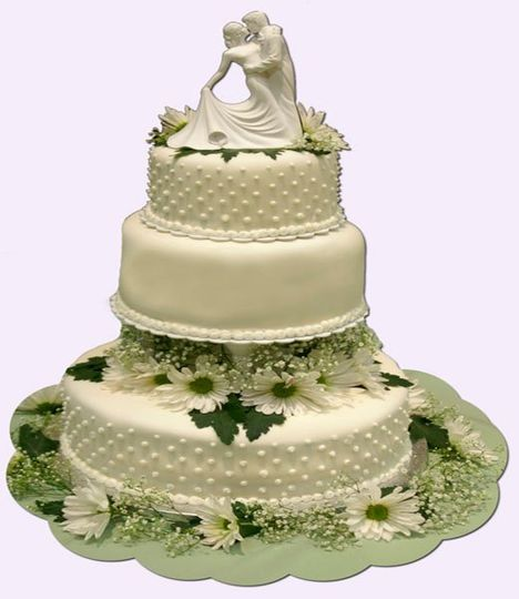 This 3 tiered wedding cake is iced in my butter cream and topped with my home made rolled fondant....