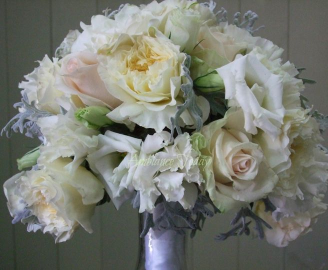 #Loose bouquet of #garden roses, #gardenias, #roses, #lisianthus and #foliage