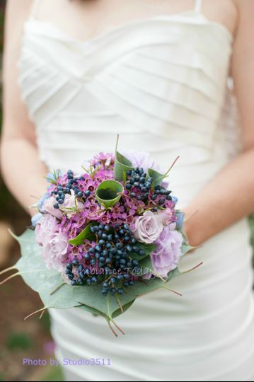 #Wedding #bouquet with #leaf collar.  #Viburnum berries, #carnations, #roses, #waxflower and...