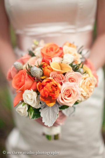 Bouquet- peach & orange spring