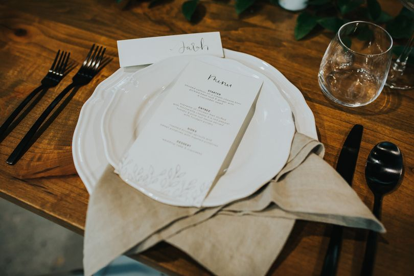 Day-of wedding menu
