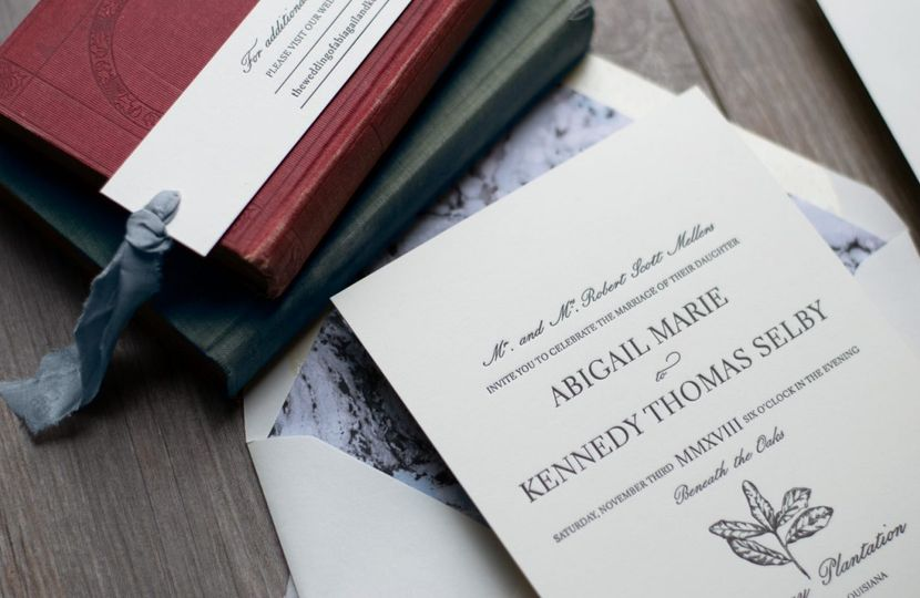 Plantation wedding invitation