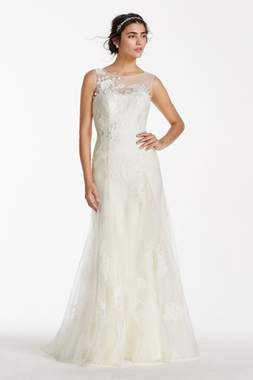 1dc13acfa08f3 Melissa Sweet Style MS251114 Tulle A-line gown with illusion neckline and  lace appliqués.