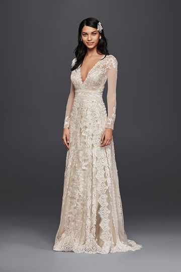 a235d5b3d57ca Melissa Sweet Style MS251173 Tulle long-sleeve sheath gown with V-neckline  and linear
