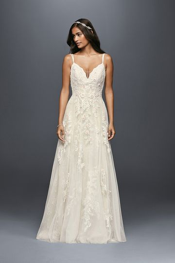 bd08aeea91fd2 Melissa Sweet Style MS251177 Tulle collapsed A-line gown with plunging  V-neckline,