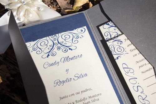 Gorgeous Steel Grey Metallic Pocket Invitation with navy blue and ivory accents.